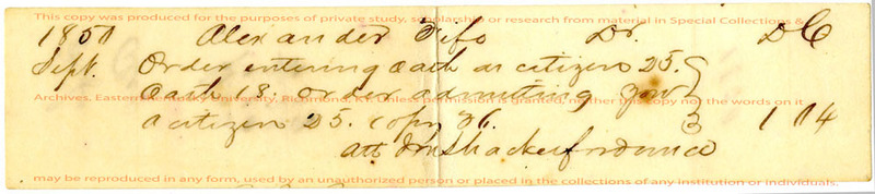 Oath admitting Alexander Fife as citizen of U.S.