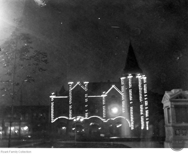 Unidentified church with lights on the side