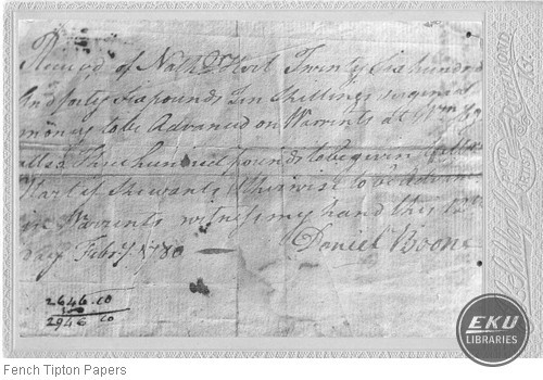 Photo of a letter by Daniel Boone