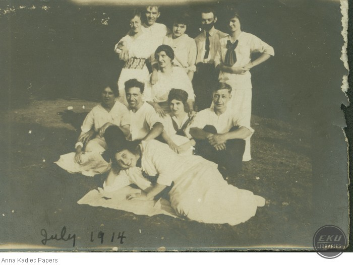 Anna Kadlec and Frank Kadlec (back row) With a Group of Unidentified People
