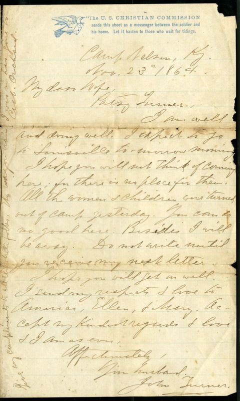 Letter from John Turner to Patsy Turner