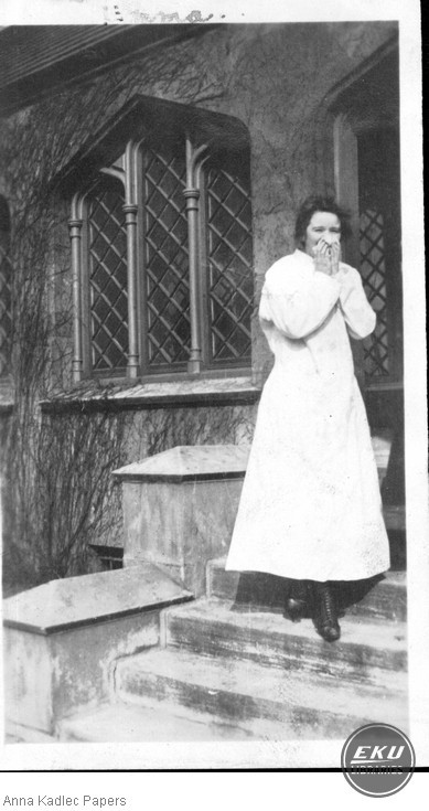 Unidentified Woman on Steps of a Building