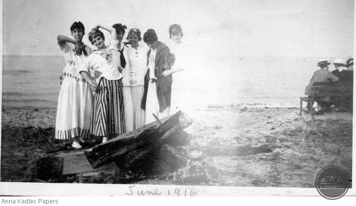 Anna Kadlec with a Group of Unidentified Women at a Lake Michigan beach