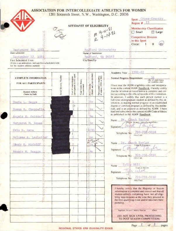 AIAW Ethics and Eligibility Forms, Virginia Schools ( R-V)