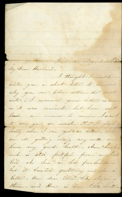 Letter from America Turner to Her Husband [Daniel Turner]