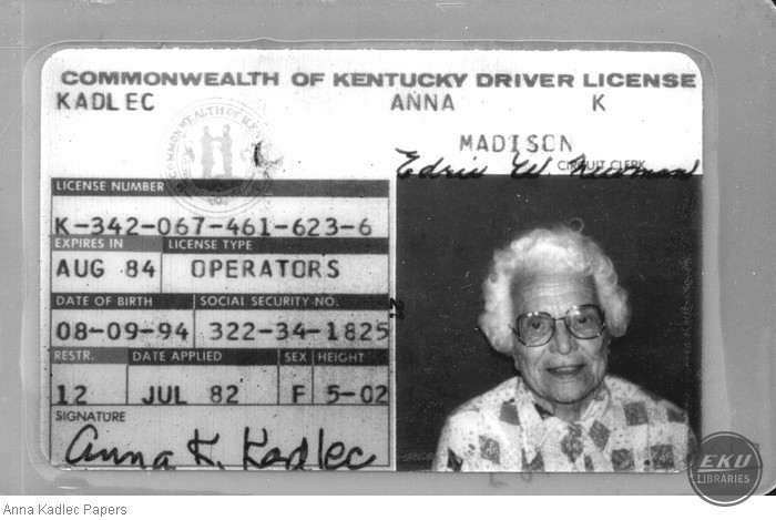 Anna Kadlec's Kentucky Drivers License
