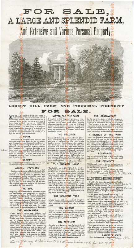 Sale Bill Advertisement for Locust Hill Farm and Personal Property