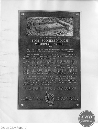 Fort Boonesborough Memorial Bridge Plaque