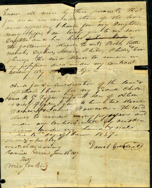 Gift of slaves deeded to Alexander Fife and wife Mary R. from Daniel Green