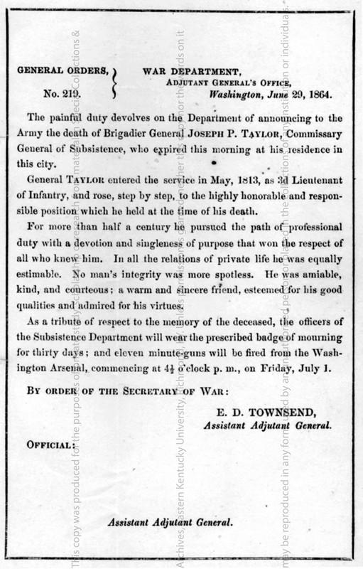 General Order No. 219 announcing Brig. Gen. Joseph P. Taylor's death