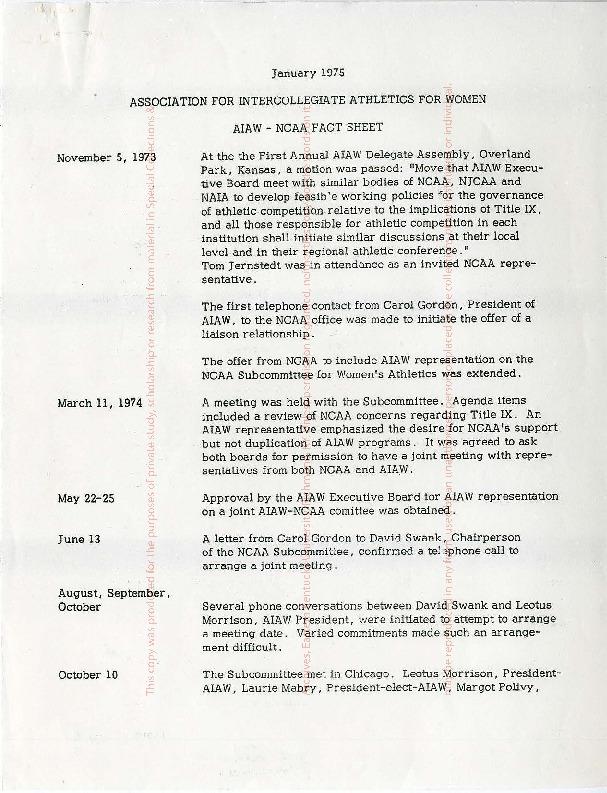 AIAW Regional Representatives Correspondence, f.1