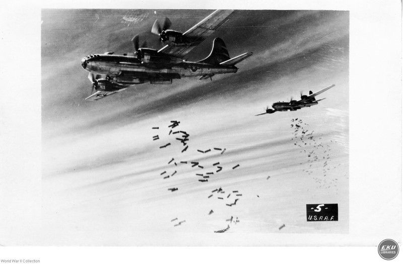 B-24 Fighter Planes Dropping Bombs