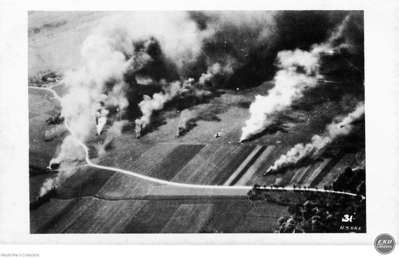 Aerial view of Bombs Hitting Land