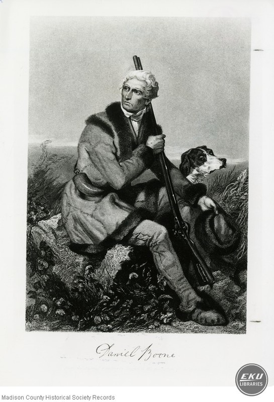 Woodcut of Daniel Boone and his Dog
