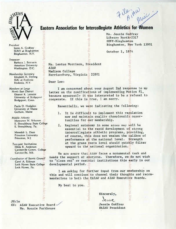 AIAW Regional Representatives Correspondence, f.2