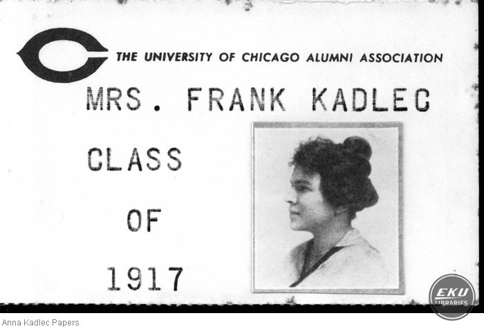 Anna Kadlec's University of Chicago Alumni Association Card