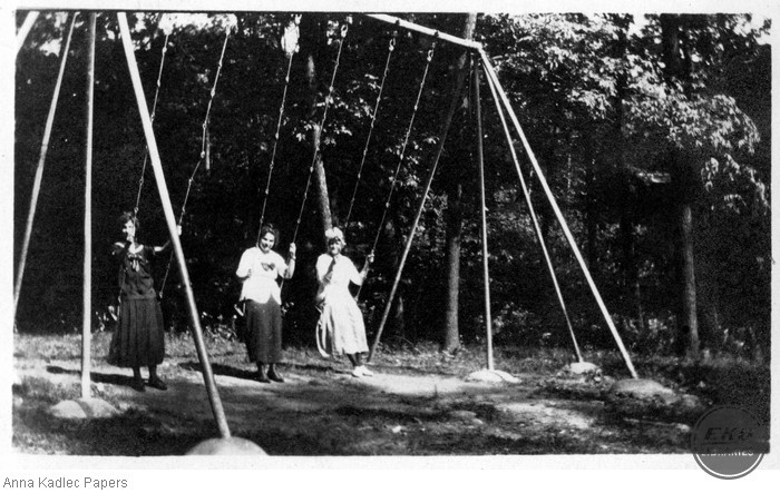 Anna Kadlec (center) Swinging with two Unidentified Women