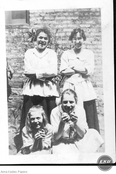 Anna Kadlec and three Unidentified Young Women