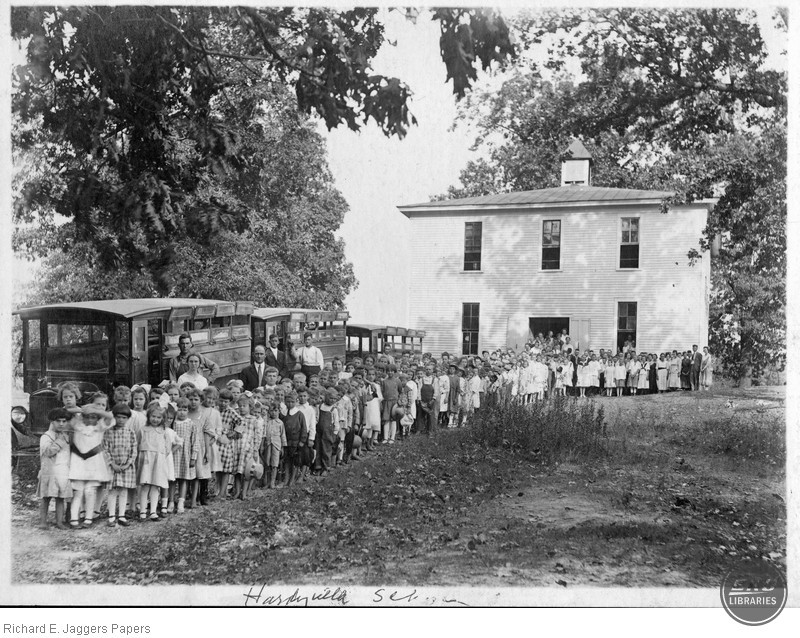 Students and Buses in Front of the Hardyville School