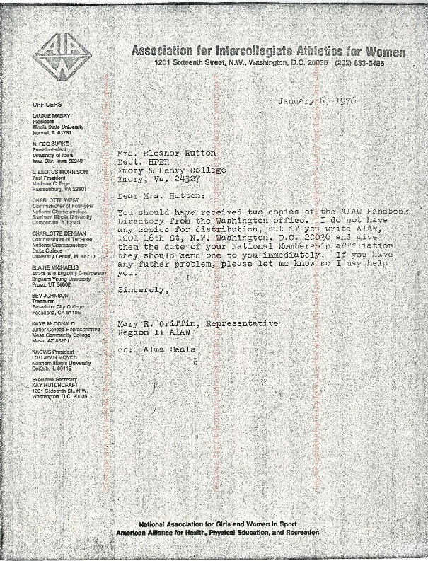 AIAW Regional Representatives Correspondence