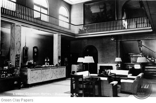 The lobby of the Glyndon Hotel