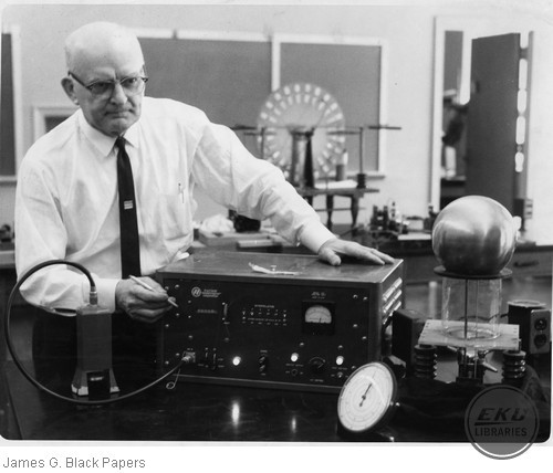 James G. Black with one of his inventions