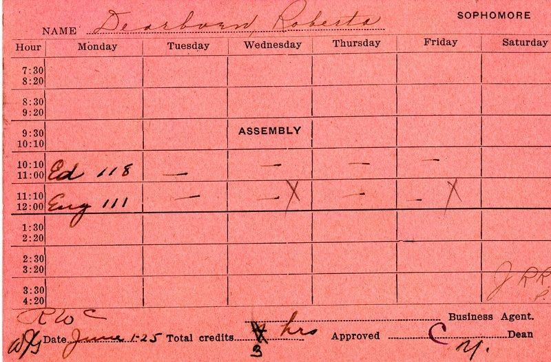 Roberta Dearborn Mitchell Registration Card