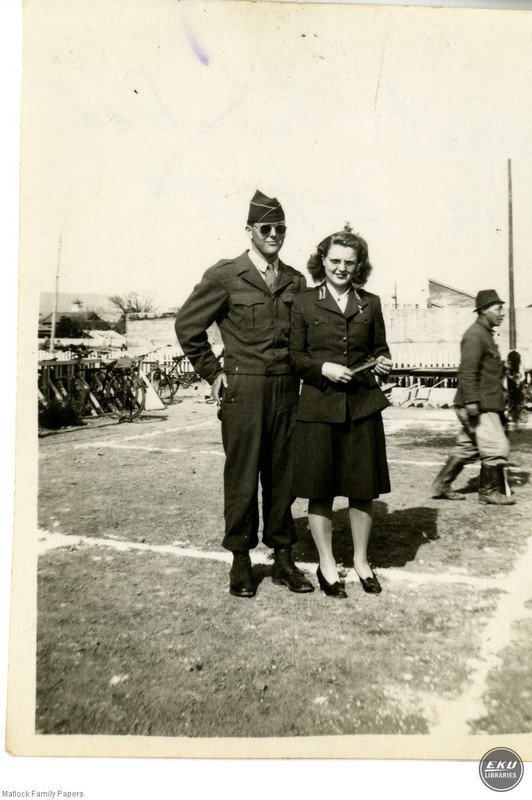 Unidentified Man and Woman in Military Uniforms