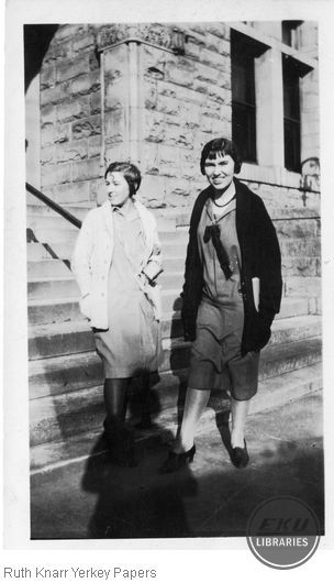 Beulah Cornelison and Ruth Knarr on campus