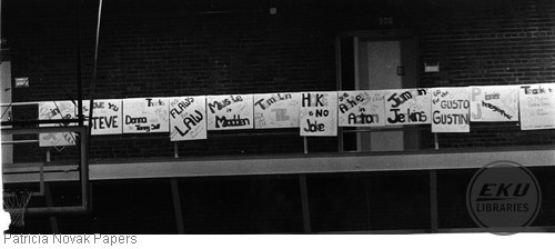 Posters made by team for last home meet