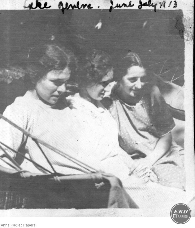 Anna Kadlec and Two Unidentified Women at Lake Geneva