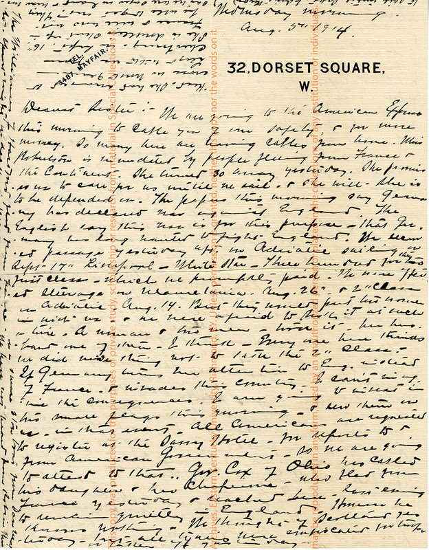 Letter from Katherine Caperton to her Sister, London