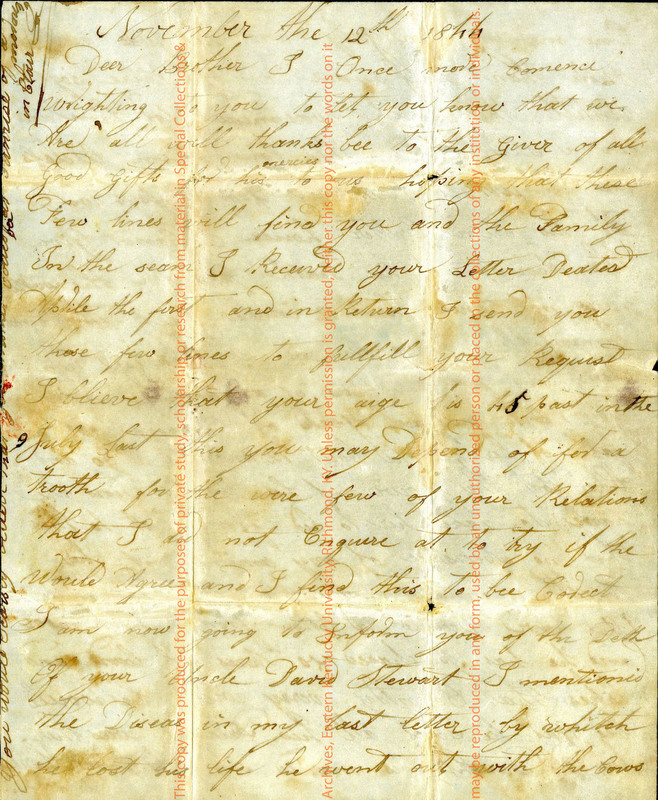 Unsigned Letter to Alexander Fife