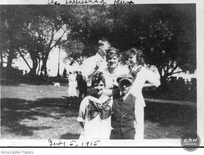 Anna and Frank Kadlec with Three Unidentified People