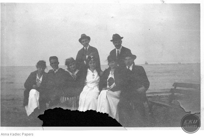 Anna Kadlec with a Group of Unidentified People at a Lake Michigan beach