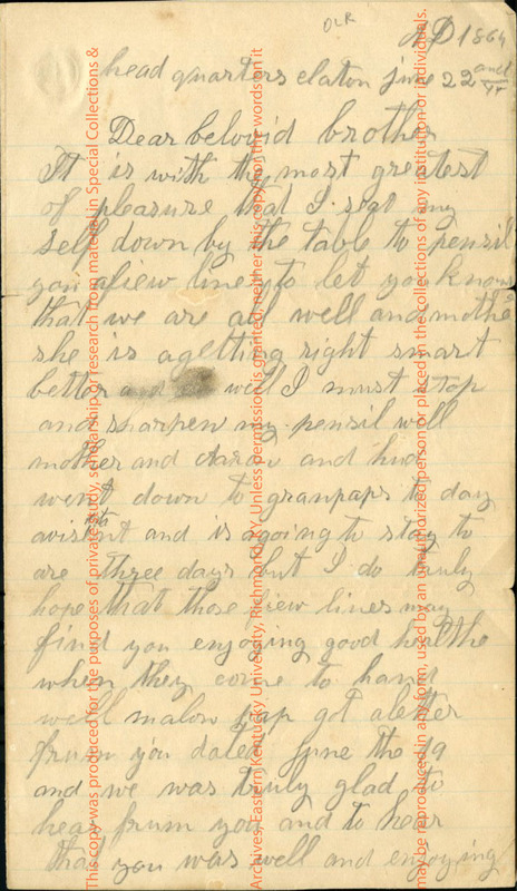 Letter to A. Landers from Matilda Jane Landers