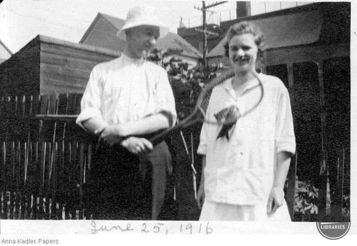 An Unidentified Couple with a Tennis Racquet