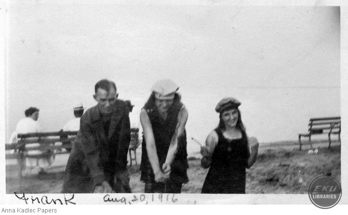 Frank Kadlec and two Unidentified Women on a Lake Michigan beach