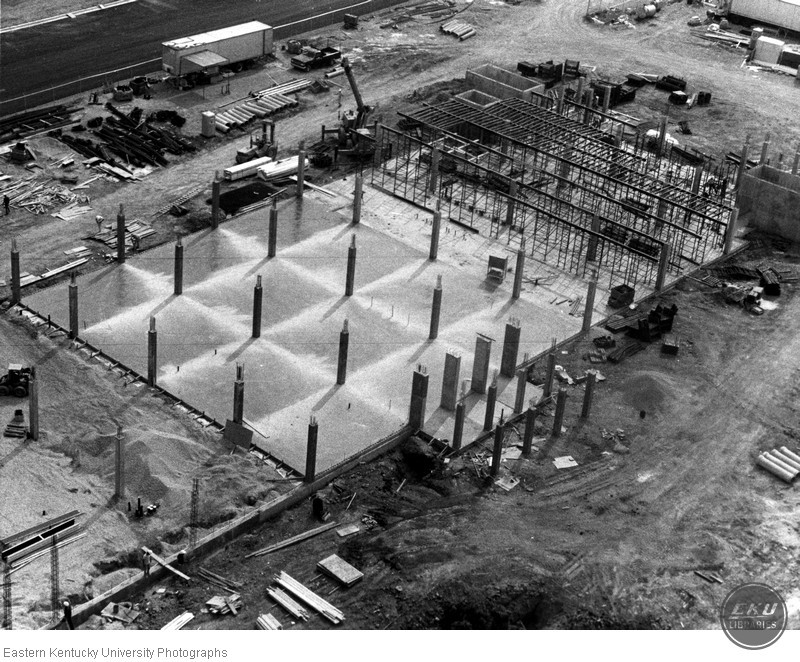 Aerial view of Dizney Building construction site
