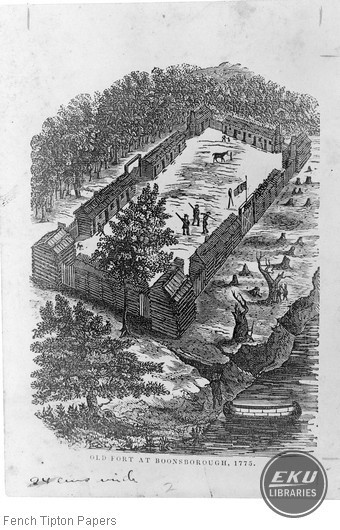 Drawing of Old Fort Boonesborough