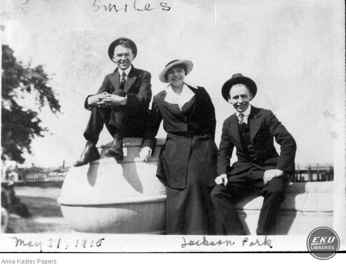 Ty Cobb, Anna Koutecky and Frank Kadlec in Jackson Park, Chicago, IL