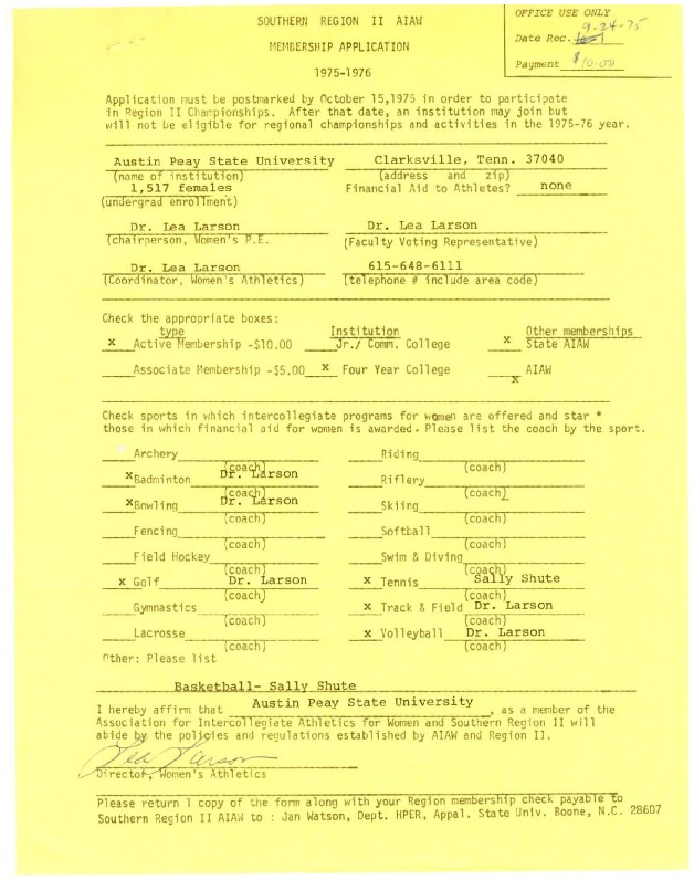 AIAW Membership Applications, Tennessee