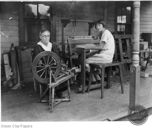 Mrs. Mary A Anderson and her daughter operating a spinning jenny and loom at their home, Berea ky
