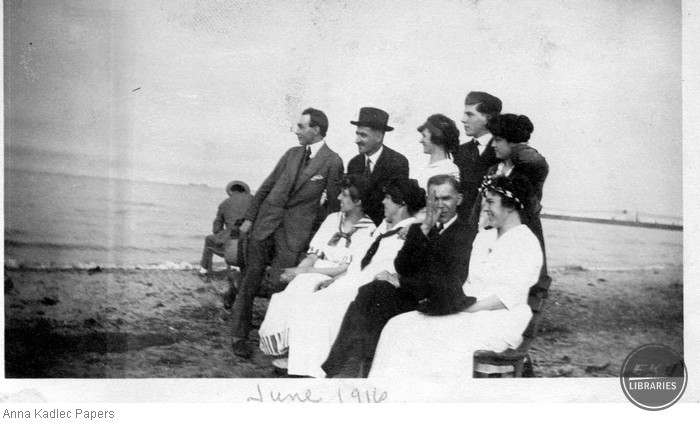 Anna and Frank Kadlec with a group of Unidentified People