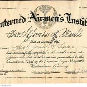 Interned Airmen's Institute Certificate of Merit