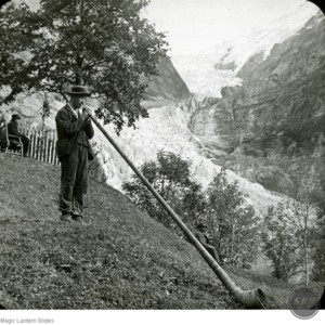Blowing the Alpine Horn, Grindelwald, Switzerland