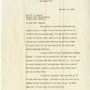 Miriam A. Bytel to Mrs. Harry B. Hanger
