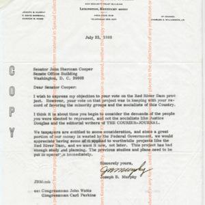 Letter from Joseph B. Murphy to Senator John Sherman Cooper